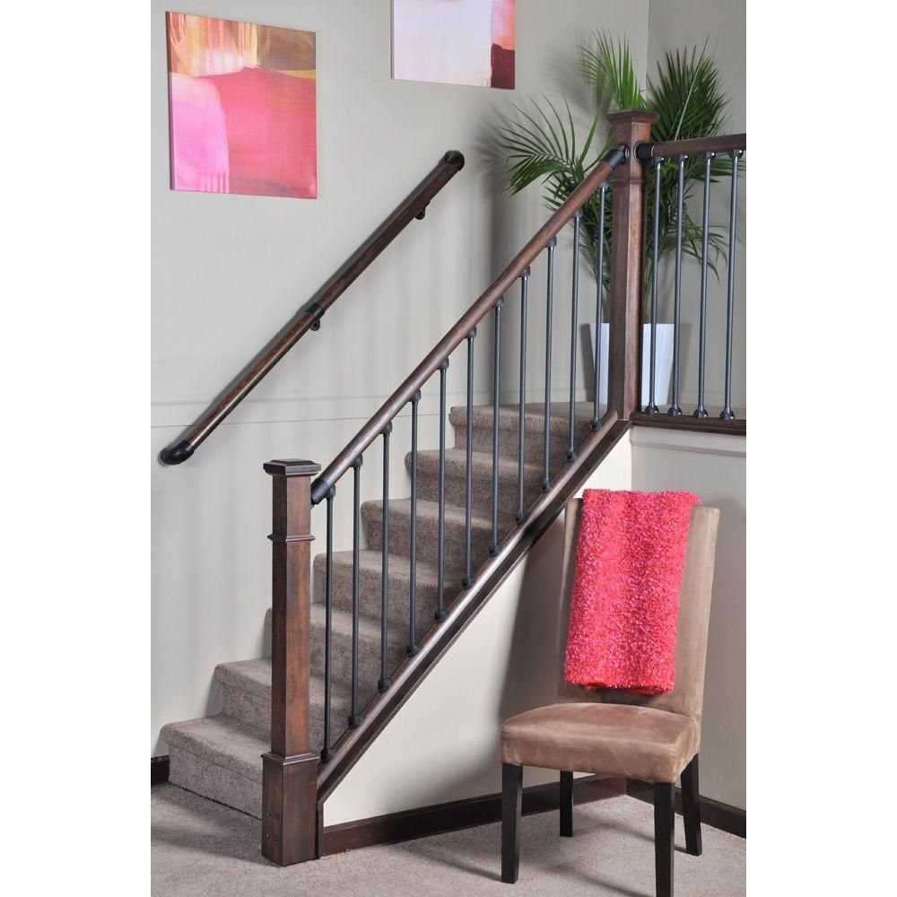 Best Stair Simple Axxys 8 Ft Stair Rail Kit Axhsr8B32I The Home Depot Interior Stair Railing 400 x 300
