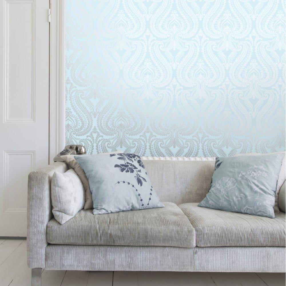 Shimmer Damask Metallic Wallpaper Teal Silver Metallic Wallpaper Wallpaper Uk Home Decor