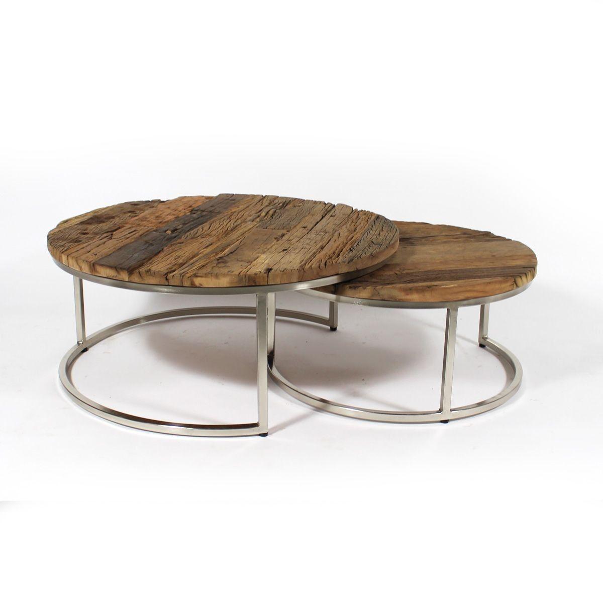 Table Basse Gigogne Ronde Bois Recyclé Style Brut Pieds Métal Gris