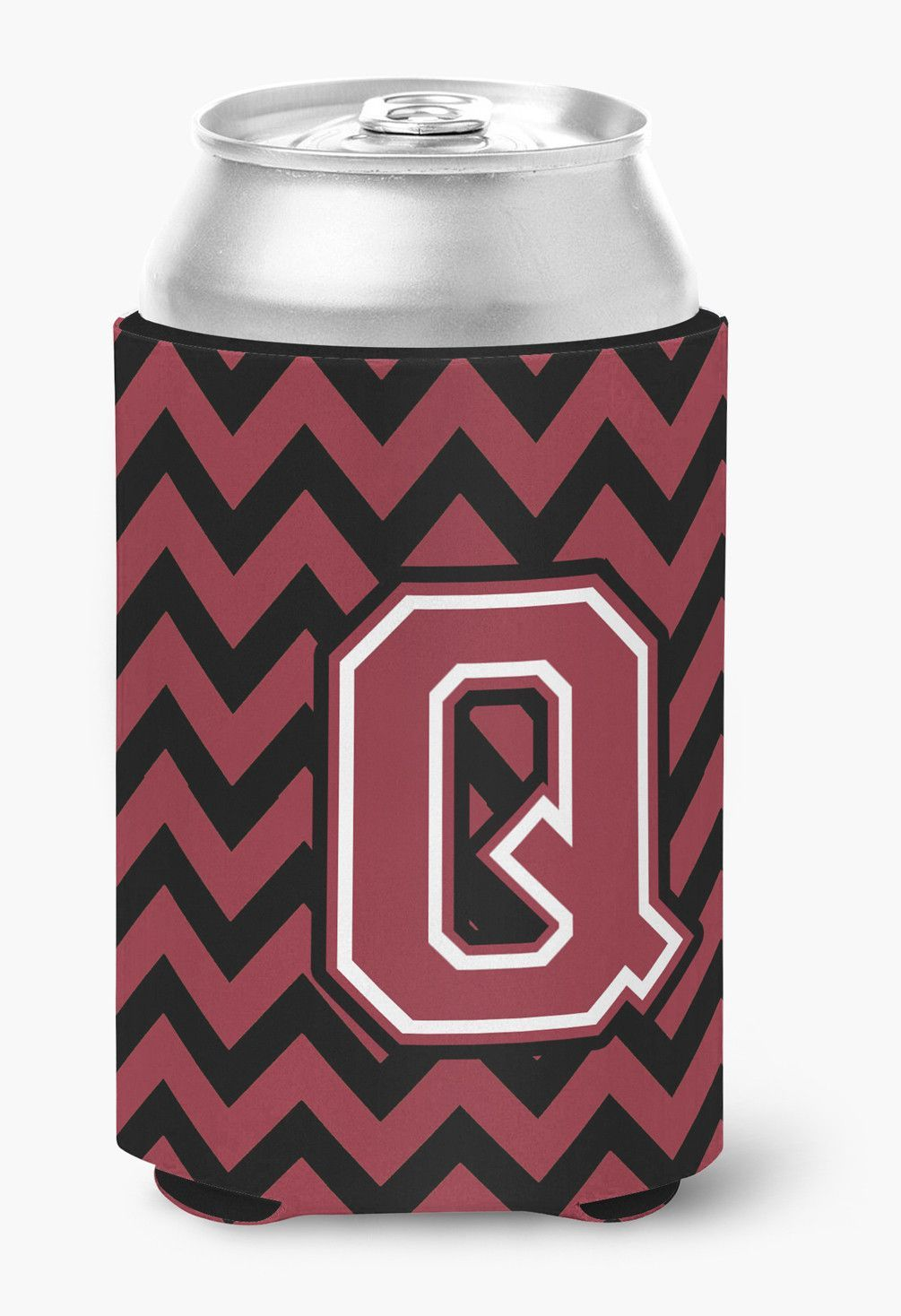 Letter Q Chevron Garnet and Black Can or Bottle Hugger CJ1052-QCC