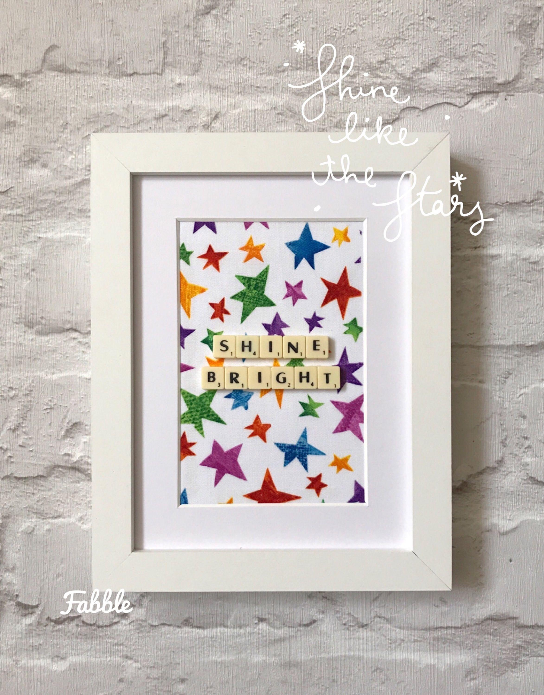 Shine bright nursery wall art - bright rainbow colours - nursery ...