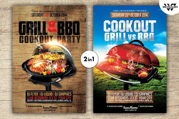 Grill Bbq Cookout Flyer Template Flyer Template And Template
