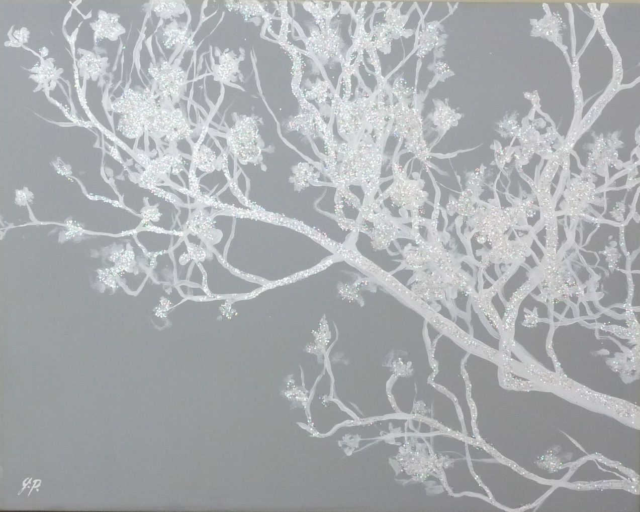 Original winter wall art branch tree painting in gray u irridescent