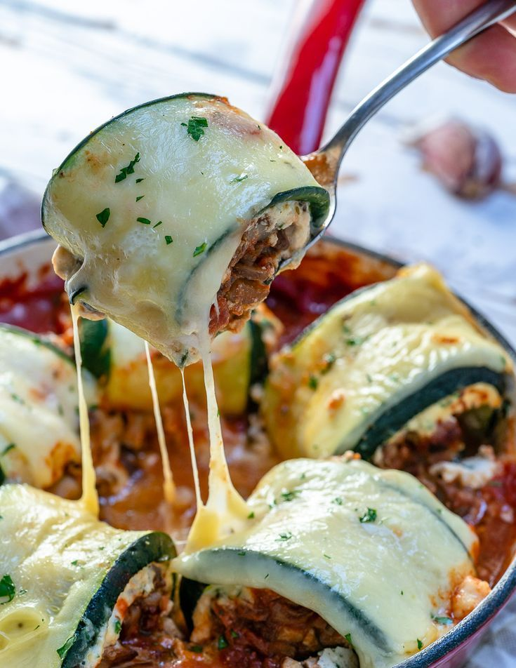 These Mushroom Zucchini Lasagna Rolls are AMAZING and Clean Eating...