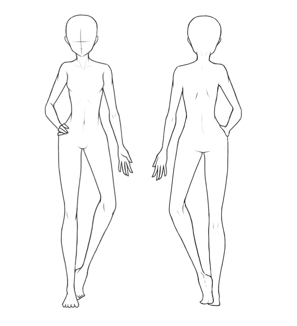 Front And Back View Of A Base Used For Drawing Outfits In 2020 Body Shape Drawing Art Reference Poses Drawing Base