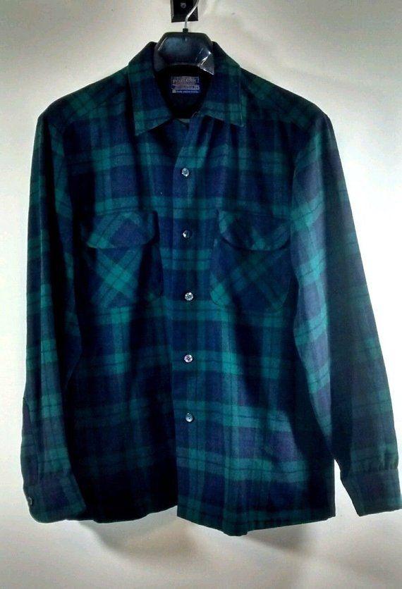 c824c889d9b Vintage Pendleton Wool Plaid Flannel Shirt, Loop Collar, Men's L, Blue,  Green
