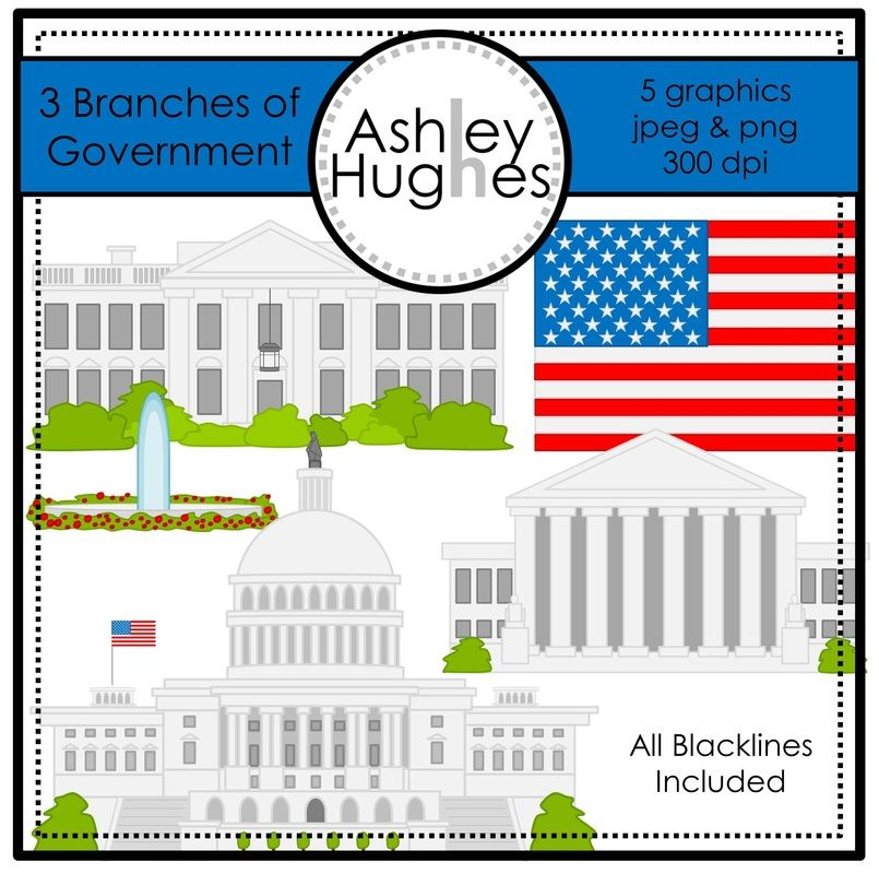 $ 3 Branches of Government Graphics:  Flag, White House, fountain, Supreme Court, Capitol Building, and all blacklines