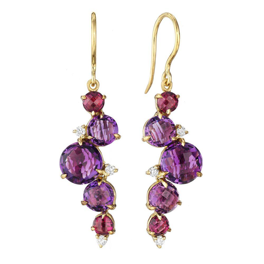 Purple Amethyst Earrings with 18k Gold Hooks Amethyst Cluster Earrings