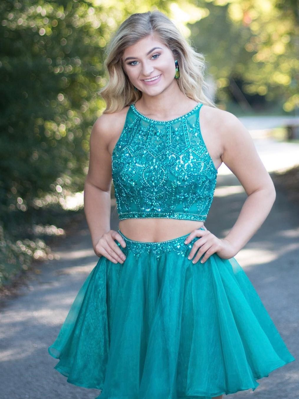 Sparkly Two Piece Teal Short Homecoming Dress With Open Back Prom Dresses Two Piece Cute Prom Dresses Piece Prom Dress [ 1350 x 1014 Pixel ]