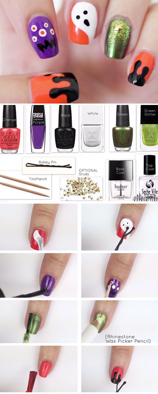 No Nail Tools Scary Nails 20 Spooky Nail Art Ideas For Halloween Nail Art Designs Diy Halloween Nails Diy Halloween Nails