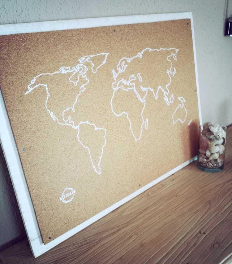 A LA VENTA 18€: Mapa del mundo DIY con corcho y marco de madera de ...