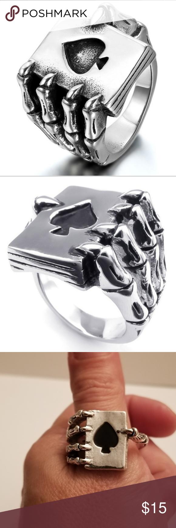 last 1 sz 13.5 Skeleton Hand Ring Emo jewelry, Hand ring