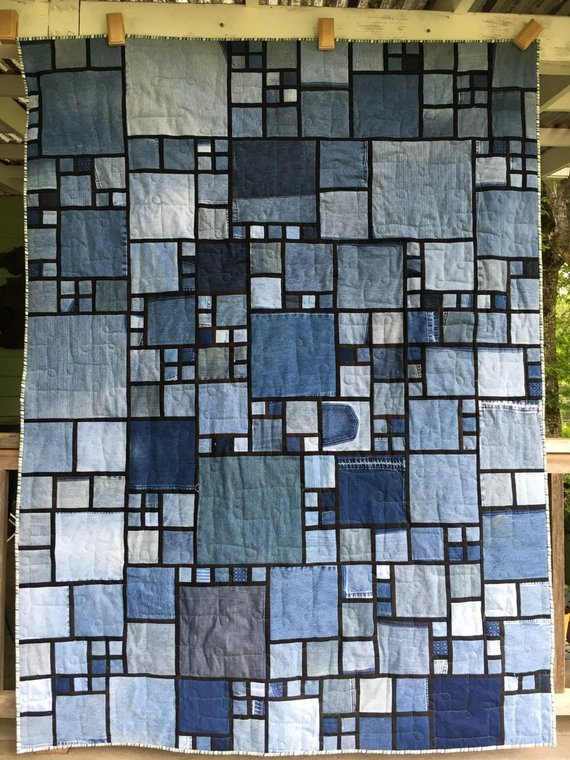 Stained Glass/Denim Quilt Pattern #crochetformoney