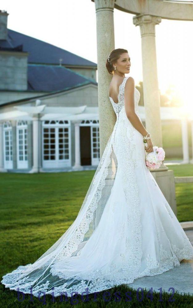 White/Ivory Bridal Gown Lace Wedding Dress Custom Size 4 6 8 10 12 ...