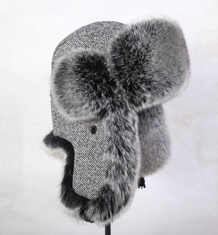 92223d6570174 Free shipping Autumn and winter men women s thicken thermal woolen faux fur  hat skiing motorcycle flying