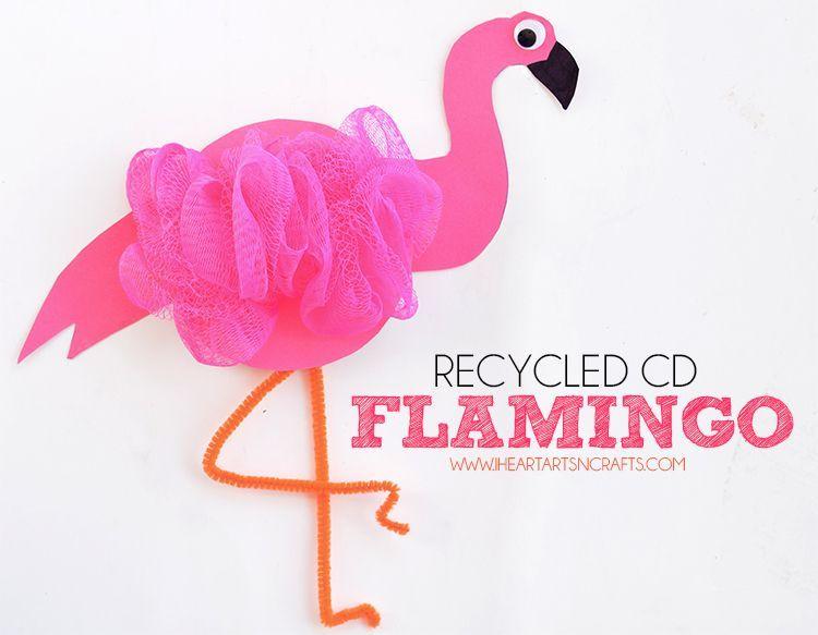 Recycled CD Flamingo Kids Craft #recycledcd Recycled CD Flamingo Kids Craft #recycledcd