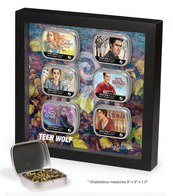 Display your superfan tendencies proudly with beautiful pieces of tasteful art, inspired by your favorite Fandom Blends. These shadowboxes contain six tea tins, magnetically affixed to the frame for carefree wall hanging at home, office or dormitory. Each tin holds enough tea for a full teapot of fandom enjoyment. #teenwolf