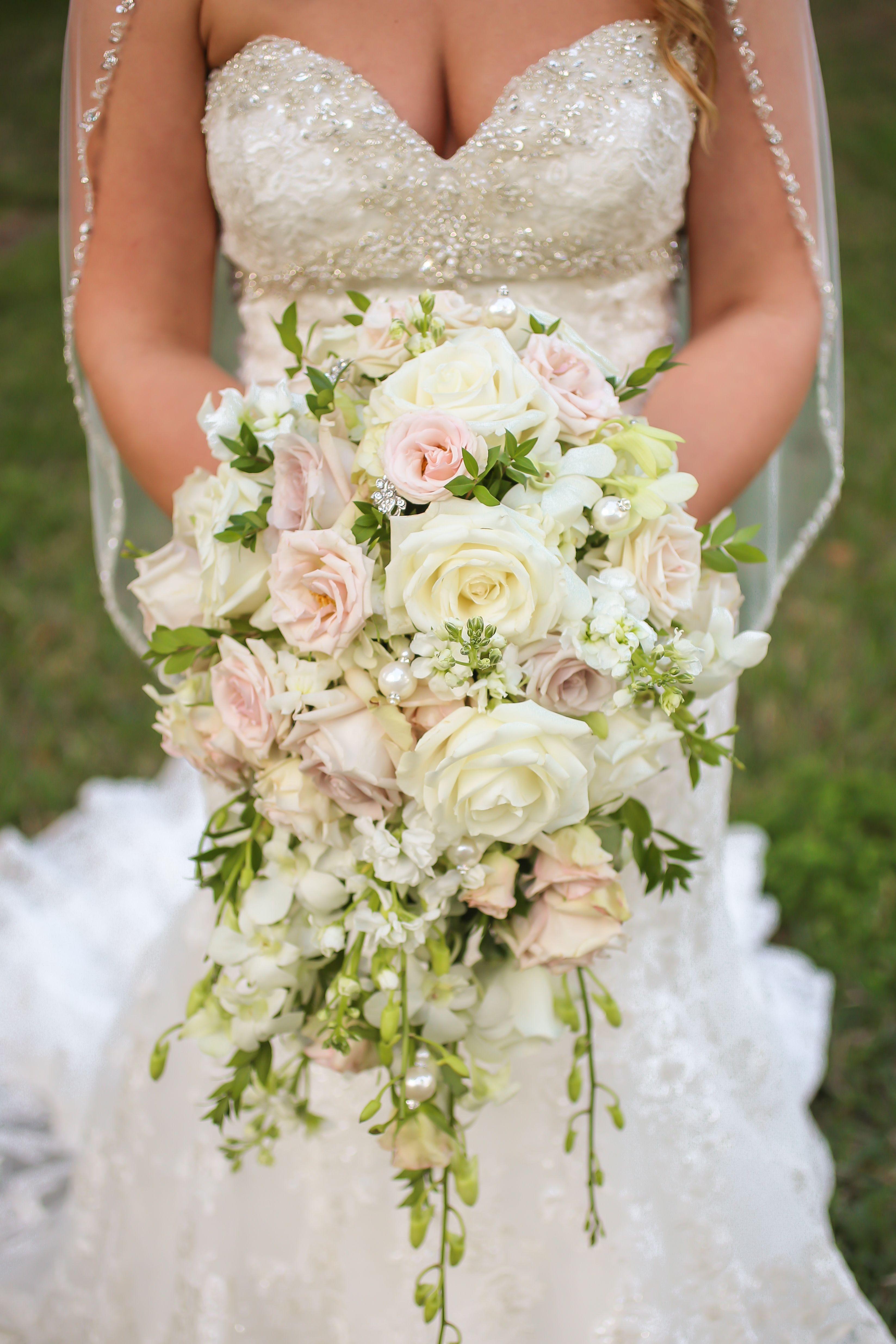 Cascading mauve and white rose bouquet wedding bouquets