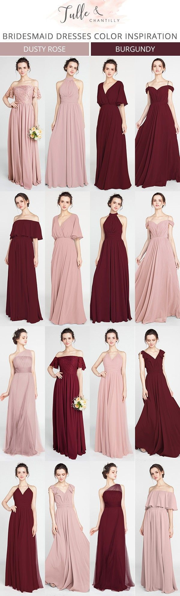 Dusty Rose And Burgundy Bridesmaid Dresses For 2018 Bridesmaiddresses 2018wedding Burgundy Bridesmaid Dresses Rose Bridesmaid Dresses Fall Bridesmaid Dresses