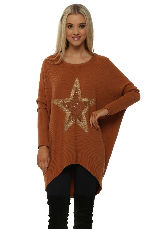 8cbfe344d LAETITIA MEM Rust Sparkling Gold Star Rib Knit Jumper
