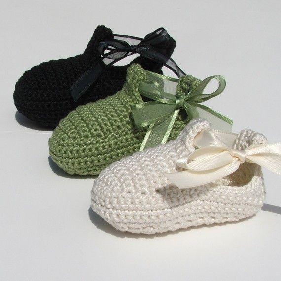 Zapatos de bebé cinta Crochet Patrón PDF por knotsewcute en Etsy ...