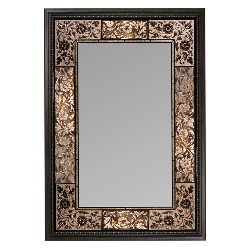 Deco Mirror 26 In X 37 In French Tile Rectangle Mirror In Dark
