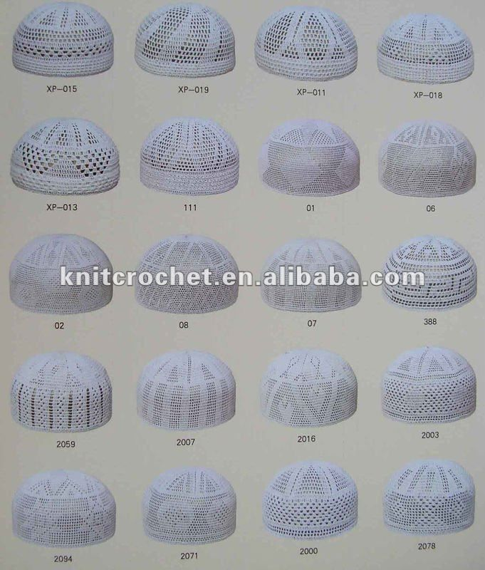 100% Cotton High Quality Hand Knitted Crochet Muslim Prayer Caps ...