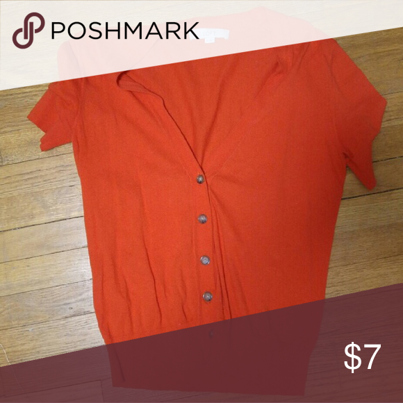 Medium red-orange sweater The Loft button up sweater. Short sleeve. Only worn once or twice. Great condition. Sweaters Cardigans