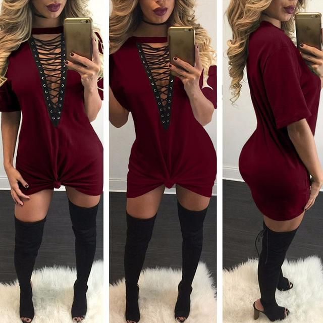 86889d2b968 Sibybo Summer T Shirt Dress 2018 Women Deep V Neck Lace Up Sexy Bodycon  Bandage Party Dresses Casual T-Shirt Dress Vestidos