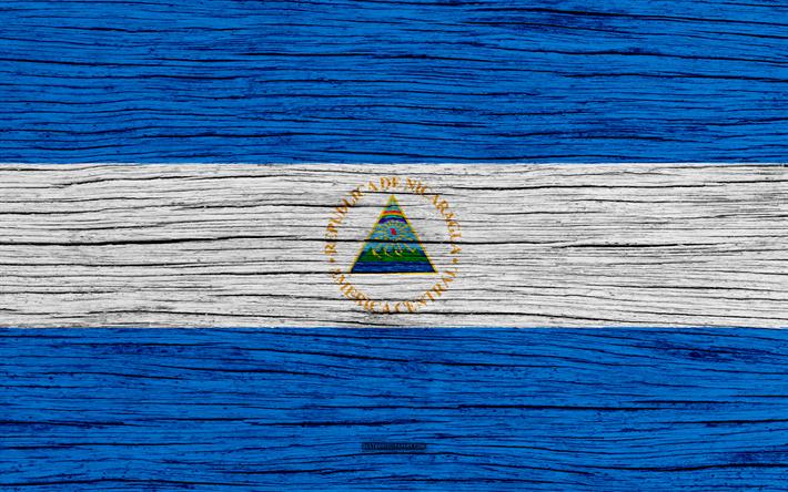 Descargar fondos de pantalla La bandera de Nicaragua, 4k, América ...