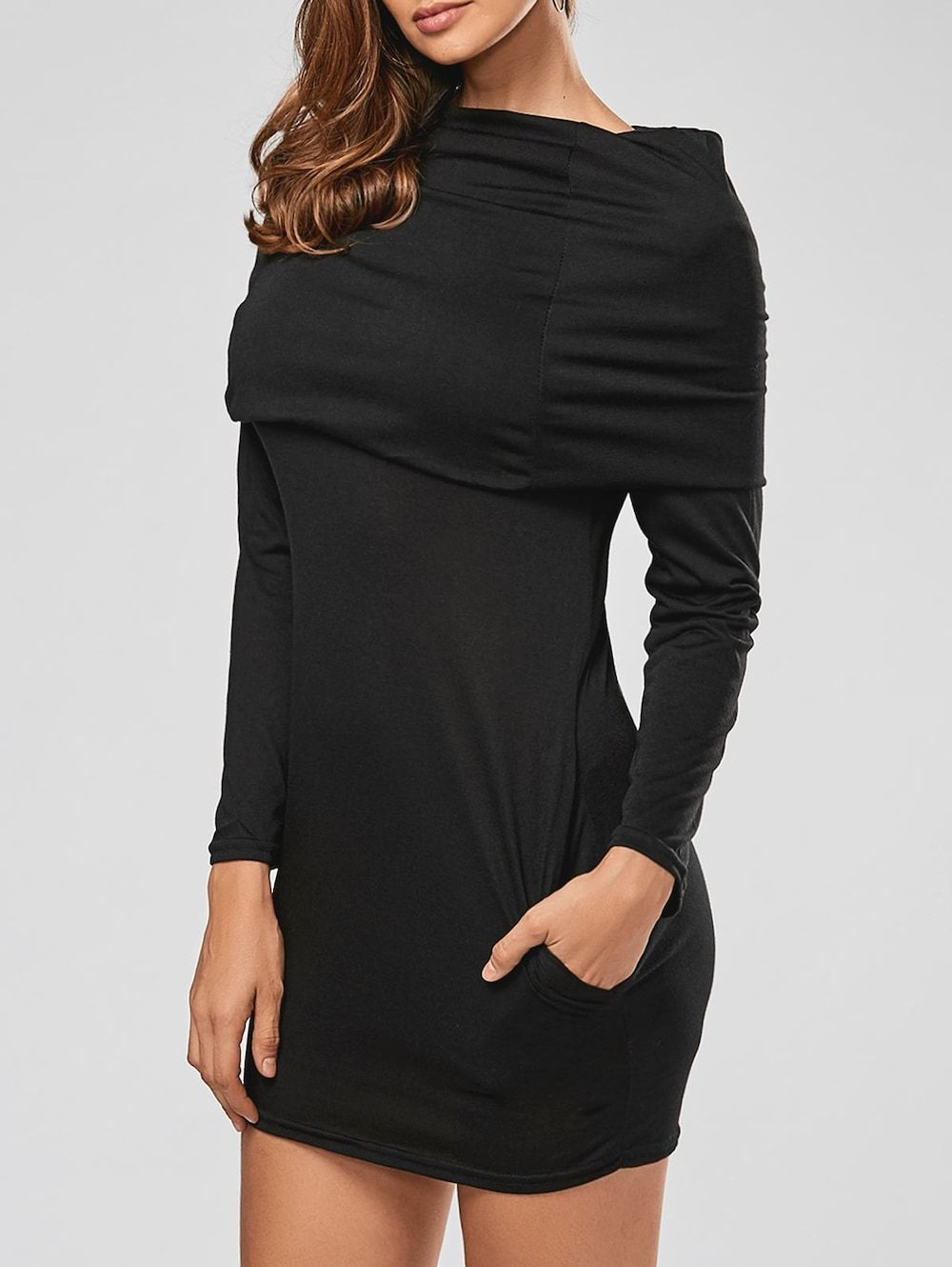 Stylish hooded long sleeve bodycon solid color womenus dress