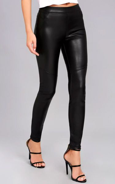 3750fefc99a5d It's time to shine with the Free People Moto Black Vegan Leather Leggings.  These offer that skinny pant leg look but with a very figure flaunting  sexiness ...