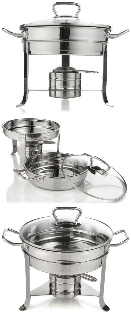 Gourmet Standard 3 Quart Stainless Steel Chafing Dish With Gl Lid Cd11012
