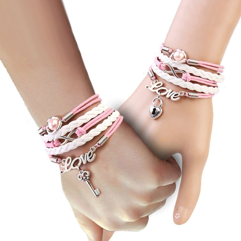 Pretty new girls multicolor ulayer alloy glass pearl leather wax