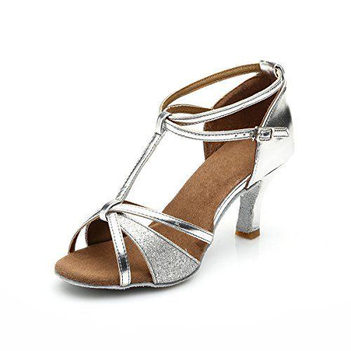 cd262c0813c44a VESI-Chaussures de Danse Latine Talons Hauts Sandales pour Femme Argent  36(Talon 5cm