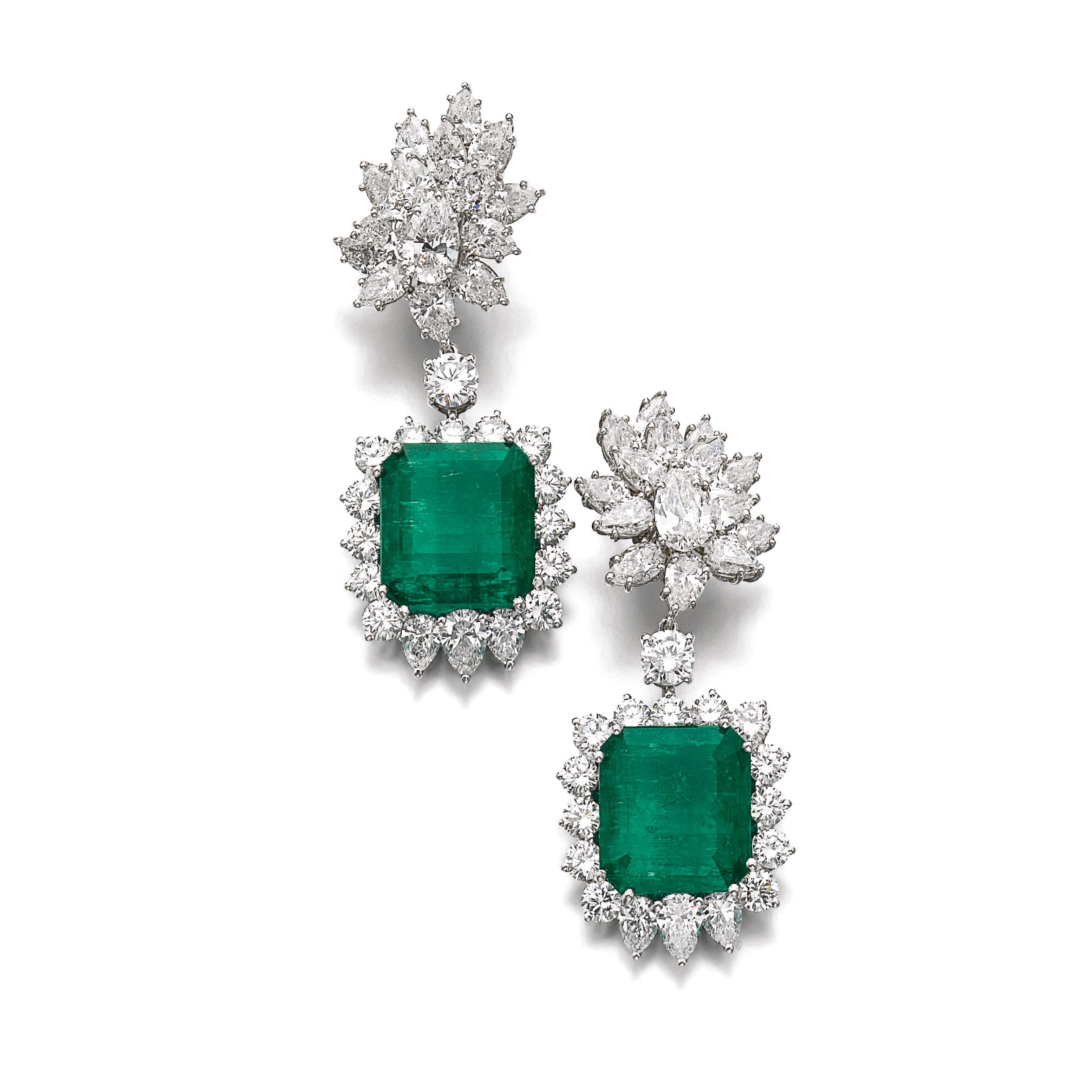 Pair of emerald and diamond pendent ear clips each detachable