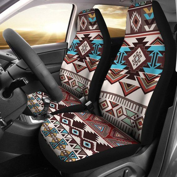 Brown Boho Chic Bohemian Aztec Car Seat Covers Pair 2 Front | Etsy