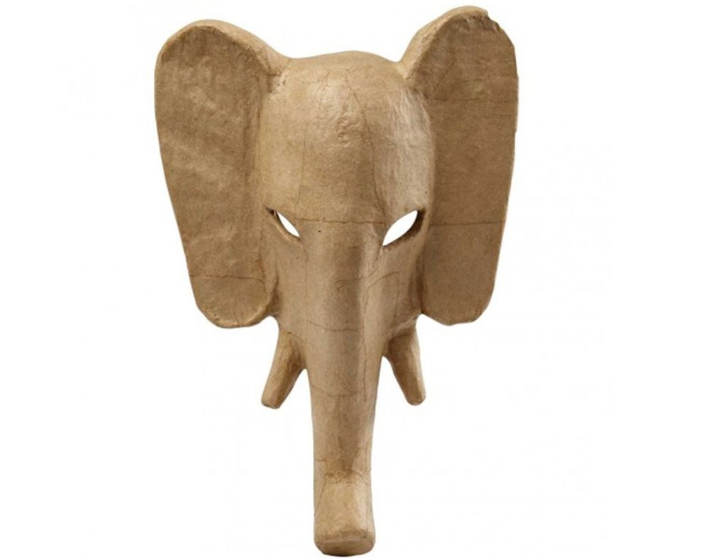 Elephant with Tusks Paper Mache Mask to Decorate Papier Mache Shapes