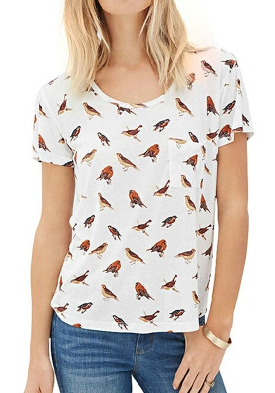 White Birds Print Pockets Round Neck Short Sleeve T-Shirt - T-Shirts - Tops