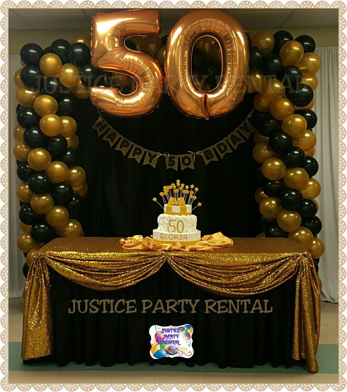 50 Years Aniversary Gold And Black 50th Birthday Decorations Gold Birthday Party Simple Birthday Party