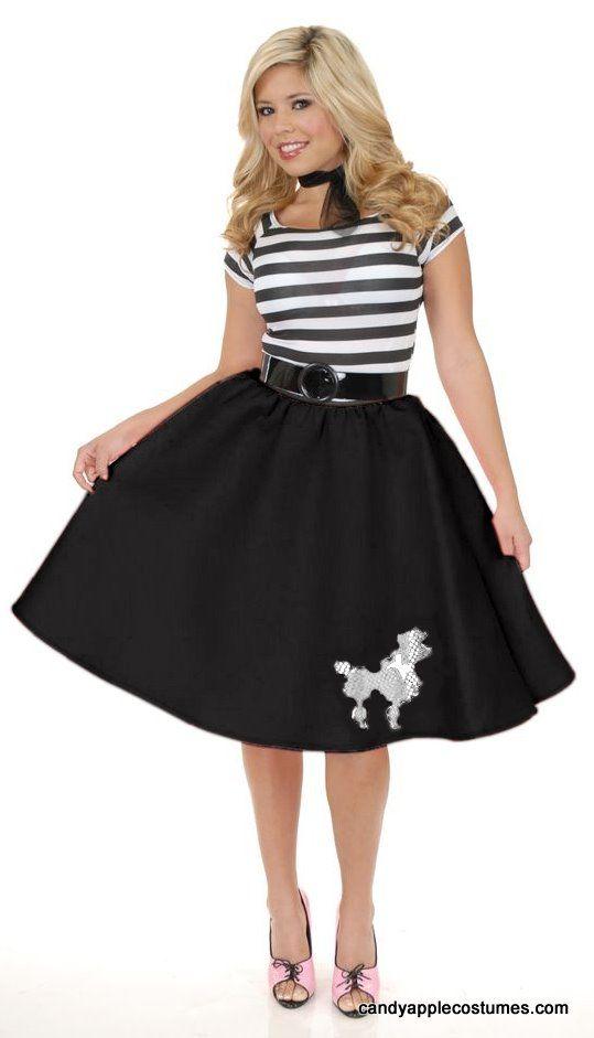 50 s felt poodle skirt pink black purple