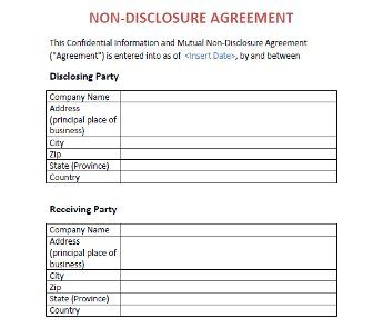 NonDisclosure Agreement Nda Template  Film Project