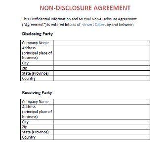 Non-Disclosure Agreement (NDA) Template | Film project | Pinterest ...