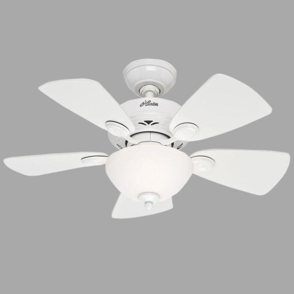 Hunter Watson 34 In Indoor White Ceiling Fan With Light Kit 52089 The Home Depot White Ceiling Fan Ceiling Fan With Light Fan Light