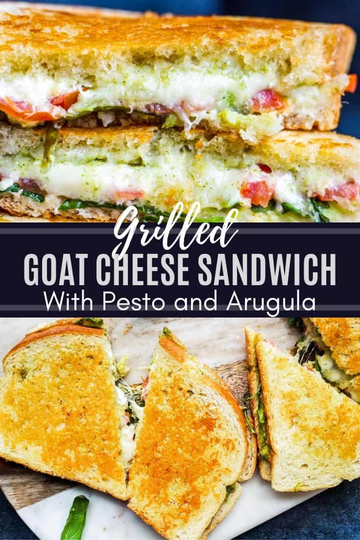 Grilled Goat Cheese Sandwich with Pesto and Arugula