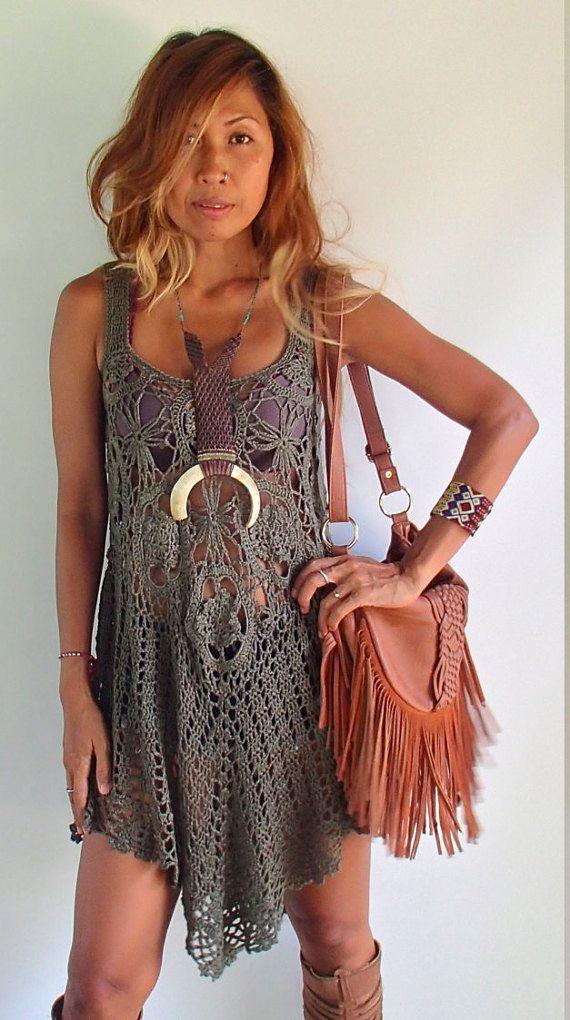 Handmade Crochet Tunic Dress /Boho crochet Dress/ High Low crochet dress/ Romantic crochet dress.Festival crochet dress/Summer beach dress