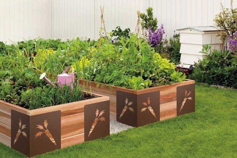 Contemporary landscape yard with fence vegetable garden for Vegetable garden box designs