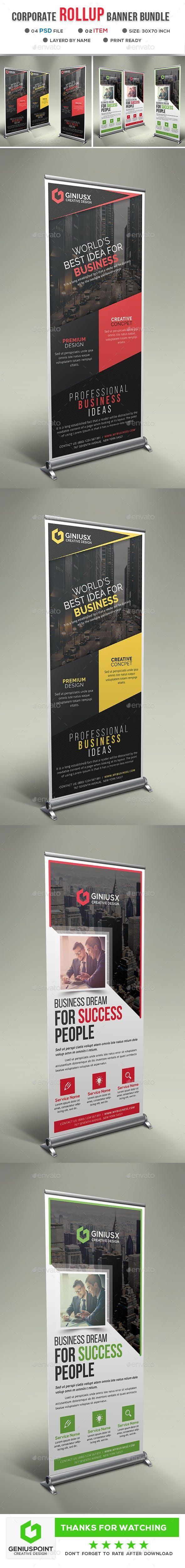 Corporate Roll Up Banner Bundle for $9 #SignageTemplates #sets #SignageDesign #s...