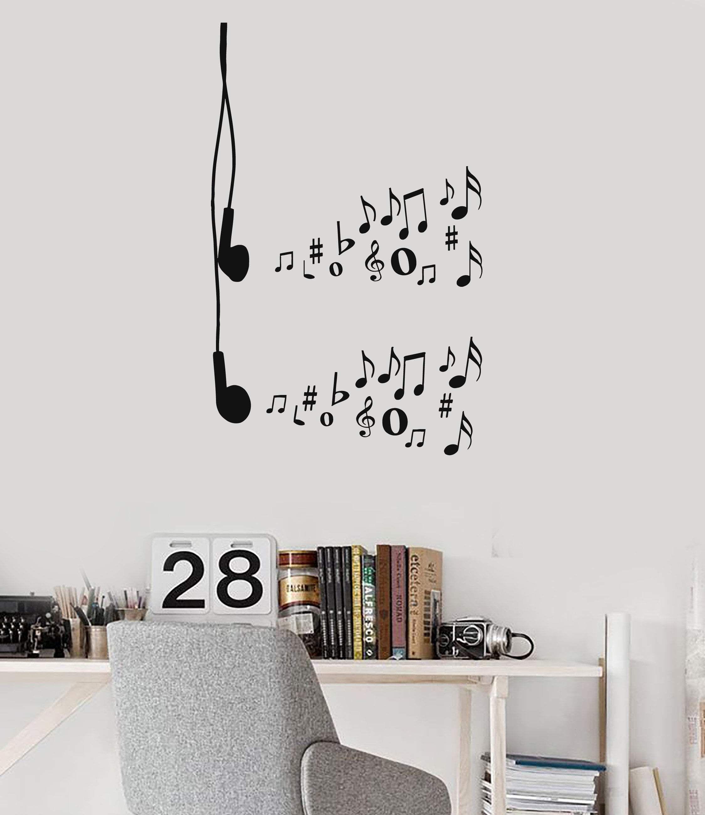 Vinyl wall decal earphones music notes musical art teen room stickers mural ig5255