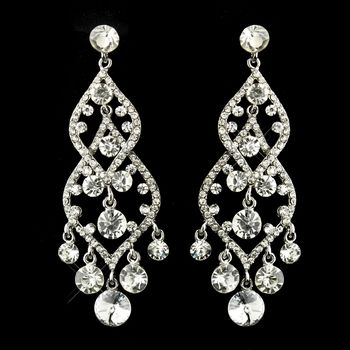 Silver Clear Rhinestone Bridal Chandelier Earrings 22564 14 3 5 Oos